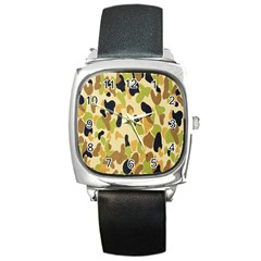 Army Camouflage Pattern Square Metal Watch