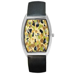 Army Camouflage Pattern Barrel Style Metal Watch