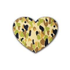 Army Camouflage Pattern Rubber Coaster (Heart)