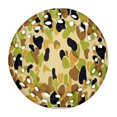 Army Camouflage Pattern Round Filigree Ornament (Two Sides)