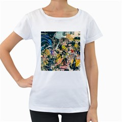 Art Graffiti Abstract Vintage Women s Loose-Fit T-Shirt (White)