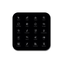 Art Desktop Icons Vector Clipart Rubber Square Coaster (4 pack)