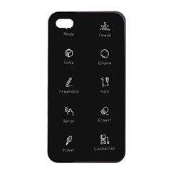 Art Desktop Icons Vector Clipart Apple iPhone 4/4s Seamless Case (Black)