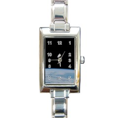 Astronaut Floating Above The Blue Planet Rectangle Italian Charm Watch