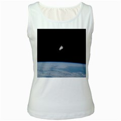 Astronaut Floating Above The Blue Planet Women s White Tank Top
