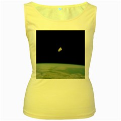 Astronaut Floating Above The Blue Planet Women s Yellow Tank Top
