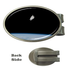 Astronaut Floating Above The Blue Planet Money Clips (oval)