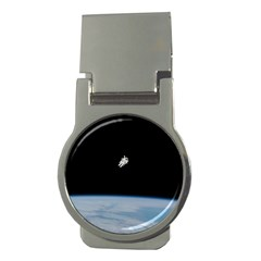 Astronaut Floating Above The Blue Planet Money Clips (Round)