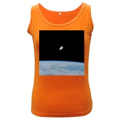 Astronaut Floating Above The Blue Planet Women s Dark Tank Top
