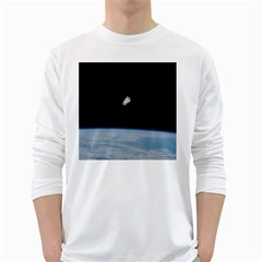 Astronaut Floating Above The Blue Planet White Long Sleeve T-Shirts