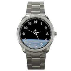 Astronaut Floating Above The Blue Planet Sport Metal Watch