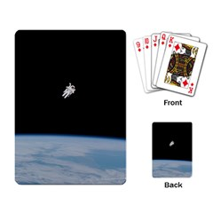 Astronaut Floating Above The Blue Planet Playing Card