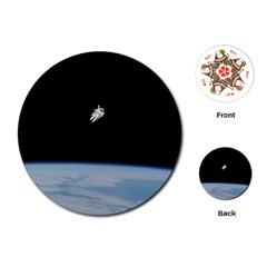 Astronaut Floating Above The Blue Planet Playing Cards (Round)