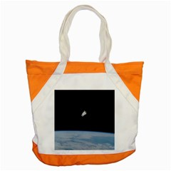 Astronaut Floating Above The Blue Planet Accent Tote Bag