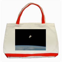 Astronaut Floating Above The Blue Planet Classic Tote Bag (Red)