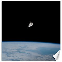 Astronaut Floating Above The Blue Planet Canvas 16  X 16