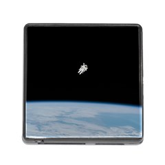 Astronaut Floating Above The Blue Planet Memory Card Reader (Square)