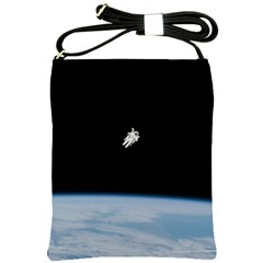 Astronaut Floating Above The Blue Planet Shoulder Sling Bags