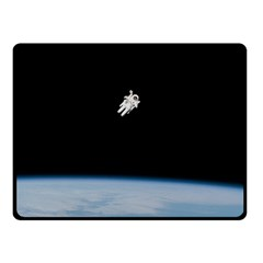 Astronaut Floating Above The Blue Planet Fleece Blanket (small)