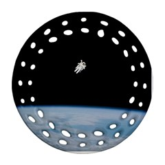 Astronaut Floating Above The Blue Planet Round Filigree Ornament (Two Sides)