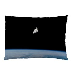Astronaut Floating Above The Blue Planet Pillow Case (Two Sides)