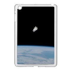 Astronaut Floating Above The Blue Planet Apple iPad Mini Case (White)