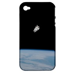 Astronaut Floating Above The Blue Planet Apple iPhone 4/4S Hardshell Case (PC+Silicone)