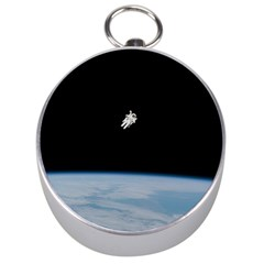 Astronaut Floating Above The Blue Planet Silver Compasses