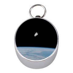 Astronaut Floating Above The Blue Planet Mini Silver Compasses