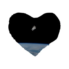 Astronaut Floating Above The Blue Planet Standard 16  Premium Flano Heart Shape Cushions