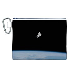 Astronaut Floating Above The Blue Planet Canvas Cosmetic Bag (l)