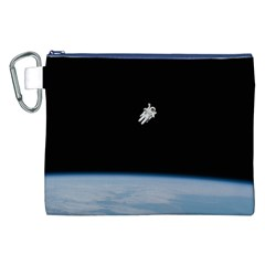 Astronaut Floating Above The Blue Planet Canvas Cosmetic Bag (XXL)