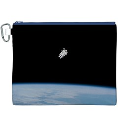 Astronaut Floating Above The Blue Planet Canvas Cosmetic Bag (XXXL)