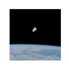 Astronaut Floating Above The Blue Planet Small Satin Scarf (square)