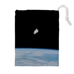 Astronaut Floating Above The Blue Planet Drawstring Pouches (Extra Large)