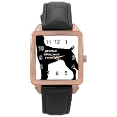 German Shorthaired Pointer Name Silo Rose Gold Leather Watch