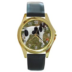 German Short Haired Pointer Puppy Round Gold Metal Watch
