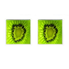 Kiwi Fruit Slices Cut Macro Green Cufflinks (square)