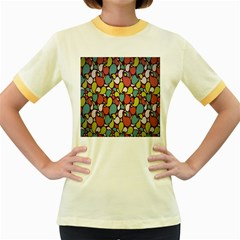 Leaf Camo Color Flower Women s Fitted Ringer T Shirts
