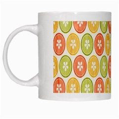 Lime Orange Fruit Slice Color White Mugs