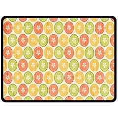 Lime Orange Fruit Slice Color Double Sided Fleece Blanket (large)
