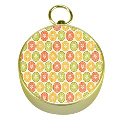 Lime Orange Fruit Slice Color Gold Compasses