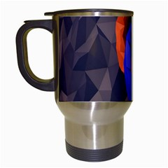 Low Poly Figures Circles Surface Orange Blue Grey Triangle Travel Mugs (white)