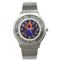 Low Poly Figures Circles Surface Orange Blue Grey Triangle Stainless Steel Watch