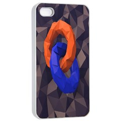 Low Poly Figures Circles Surface Orange Blue Grey Triangle Apple Iphone 4/4s Seamless Case (white)