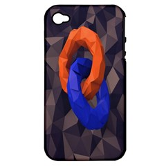 Low Poly Figures Circles Surface Orange Blue Grey Triangle Apple Iphone 4/4s Hardshell Case (pc+silicone)