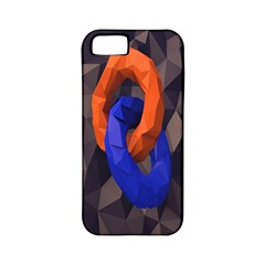 Low Poly Figures Circles Surface Orange Blue Grey Triangle Apple Iphone 5 Classic Hardshell Case (pc+silicone)