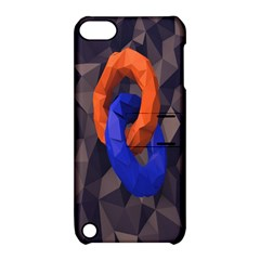 Low Poly Figures Circles Surface Orange Blue Grey Triangle Apple Ipod Touch 5 Hardshell Case With Stand