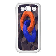 Low Poly Figures Circles Surface Orange Blue Grey Triangle Samsung Galaxy S3 Back Case (white)