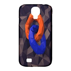 Low Poly Figures Circles Surface Orange Blue Grey Triangle Samsung Galaxy S4 Classic Hardshell Case (pc+silicone)